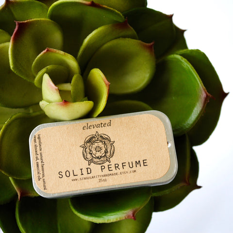 solid perfume, elevated, citrus, rosemary, succulent, sugar and succulents