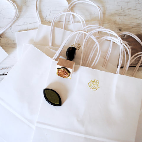 stamp, shopping, bag, kraft, paper, white,