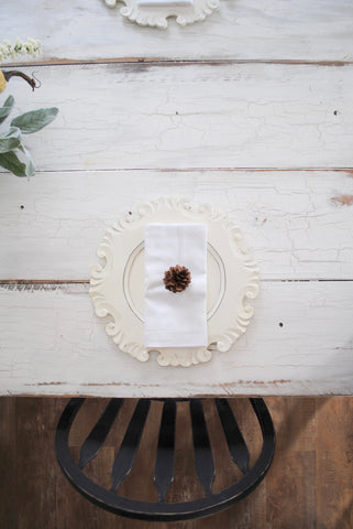 fixer upper, style, table, place setting, pine cone, sugar and succulents