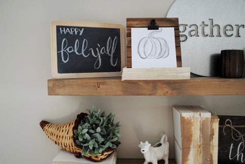farmhouse, fixer upper, fall decor, pumpkins, brush lettering,