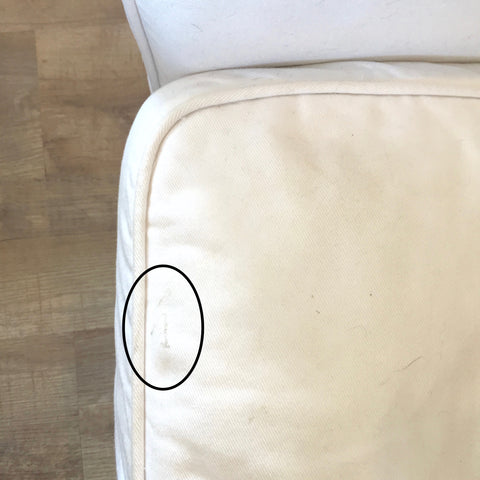 IKEA couch, dirty, white, spot, stain, laundry