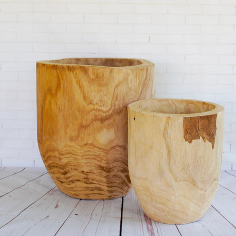 Rounded Wooden Planter