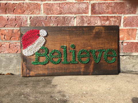 Believe Santa Hat String Art
