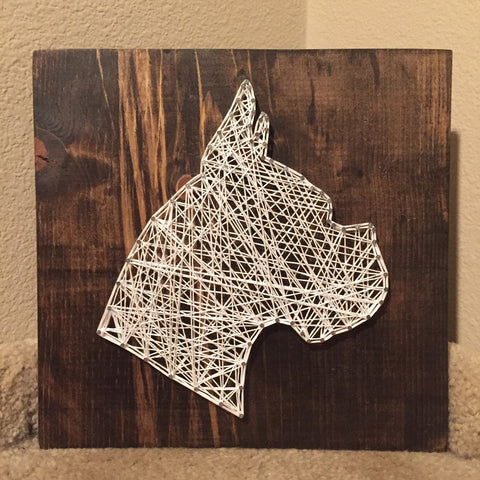Dog Silhouette (head) String Art