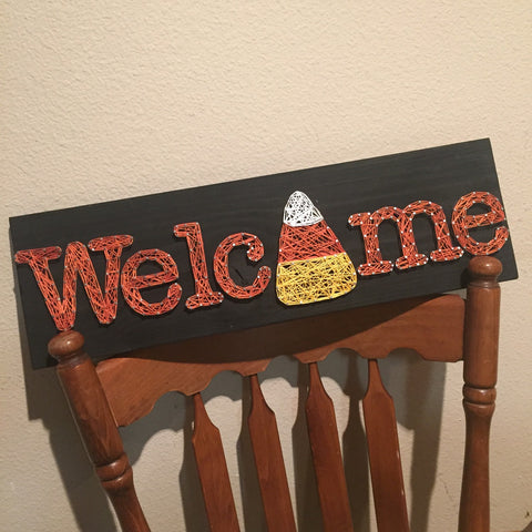 Candy Corn Welcome String Art