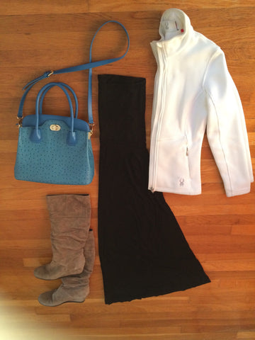 long black strapless dress, white jacket, blue bag