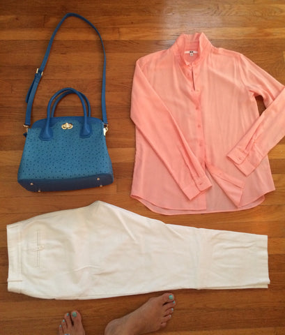 winter white pants, peach blouse, blue bag