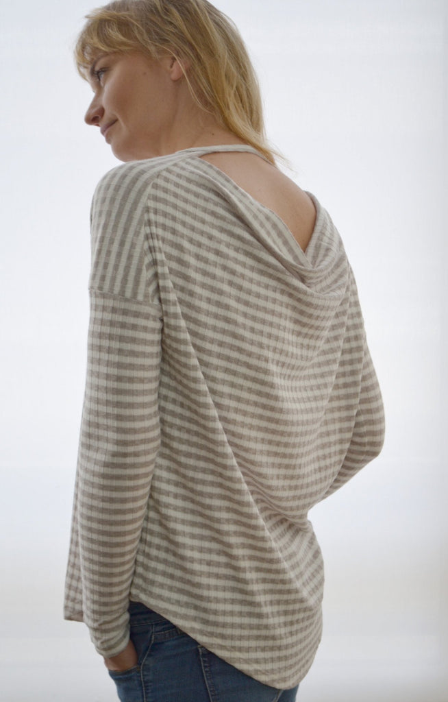 Stripped Draped Back Rib Knit