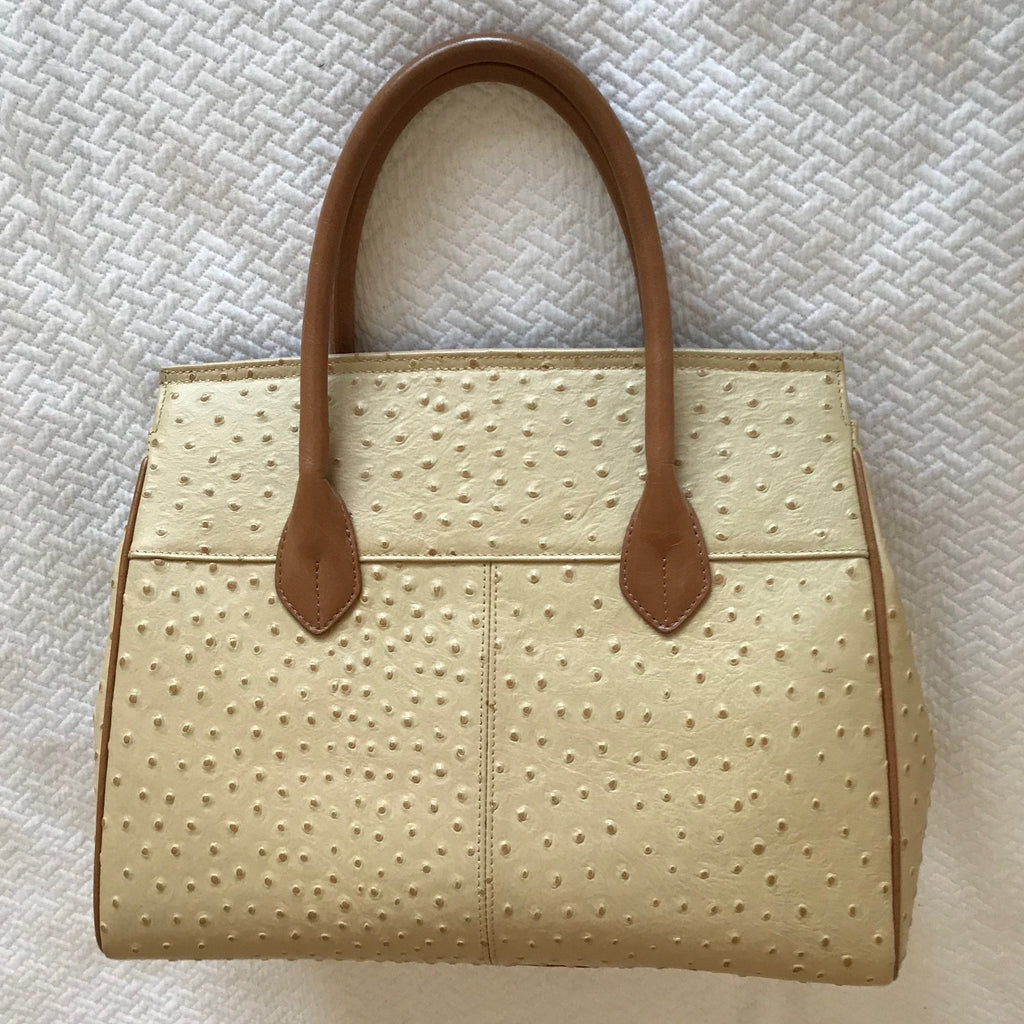 Sample Sale!!!  Tan Ostrich Skin Texture - Double Handle