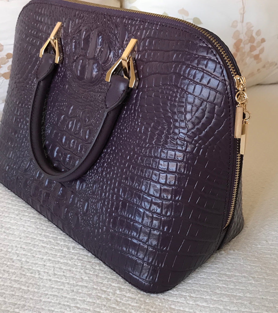 Sample Sale!!!  Purple Crocodile Print - Double Handle