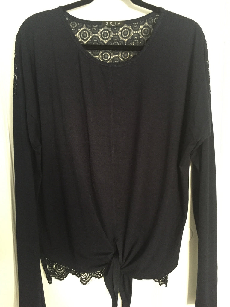 Too Cute Tie Front Tee with Lace Back