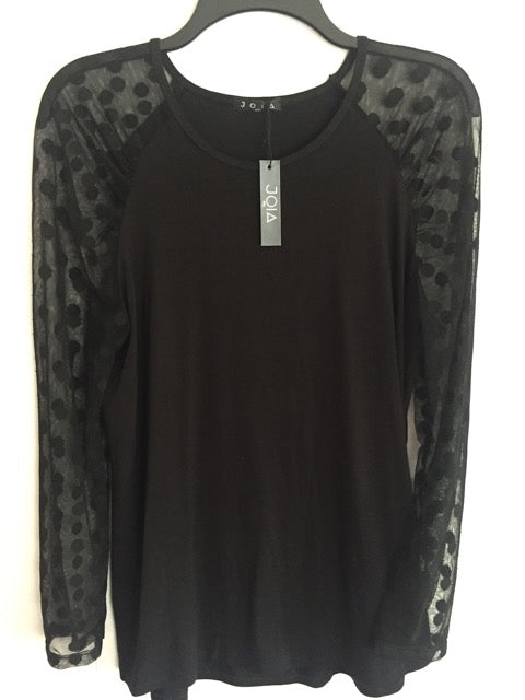 Polka Dot Mesh Long Sleeve Jersey Tee