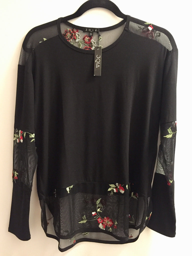 Long Sleeve Mesh with Pretty Floral Detail