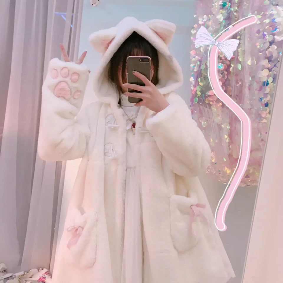 Warm Faux Fur Coat with Sweet Cat Paw Embroidery and Hood with Ears