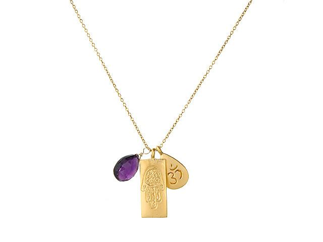 Gold Ohm Hamsa Amethyst Necklace ng284-03-l18