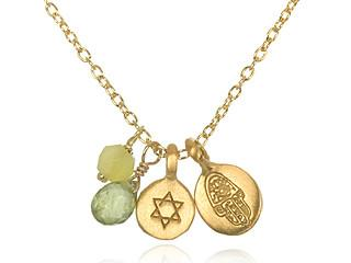 Gold Peridot Jade Hamsa Star of Davidson Necklace ng886-l18