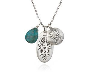 Silver Turquoise Lotus Flower Hamsa Necklace ns351-45