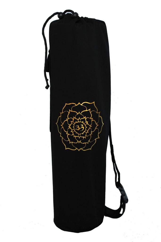 Yoga Mat Bag Black Ohm Lotus Foil