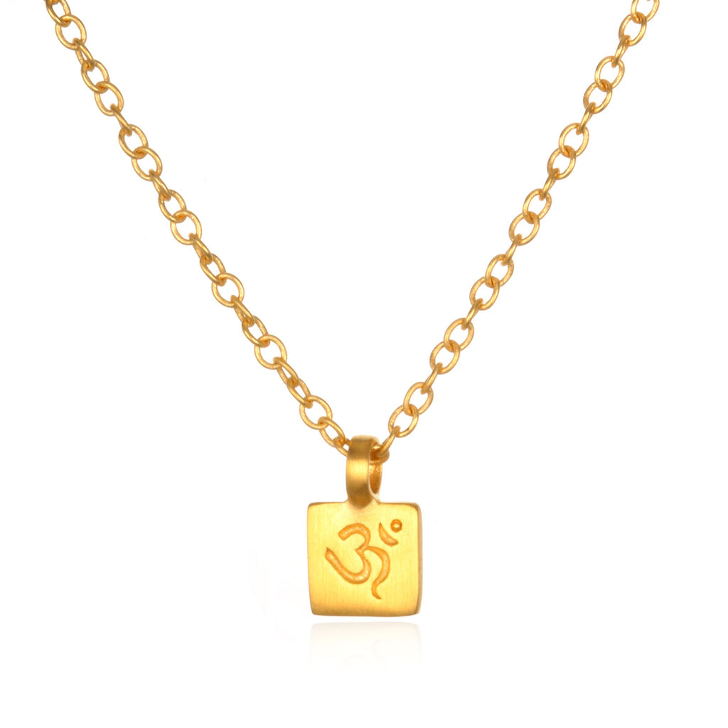 Gold Ohm Square Necklace cng0122-om-l18