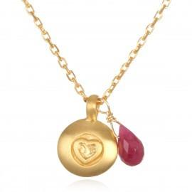 Gold Ruby Heart Necklace ng119a-36-l18b