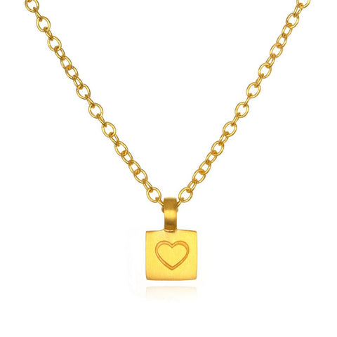 Gold Boxed Mini Heart Necklace cng0122-hrt-l18