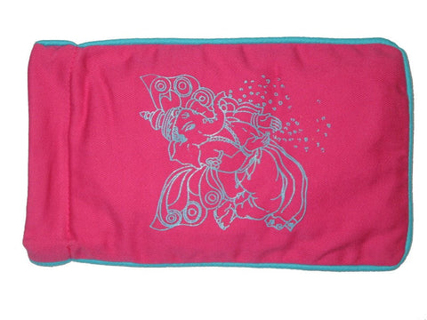 Eye Pillow Pink Flying Ganesha Turquoise