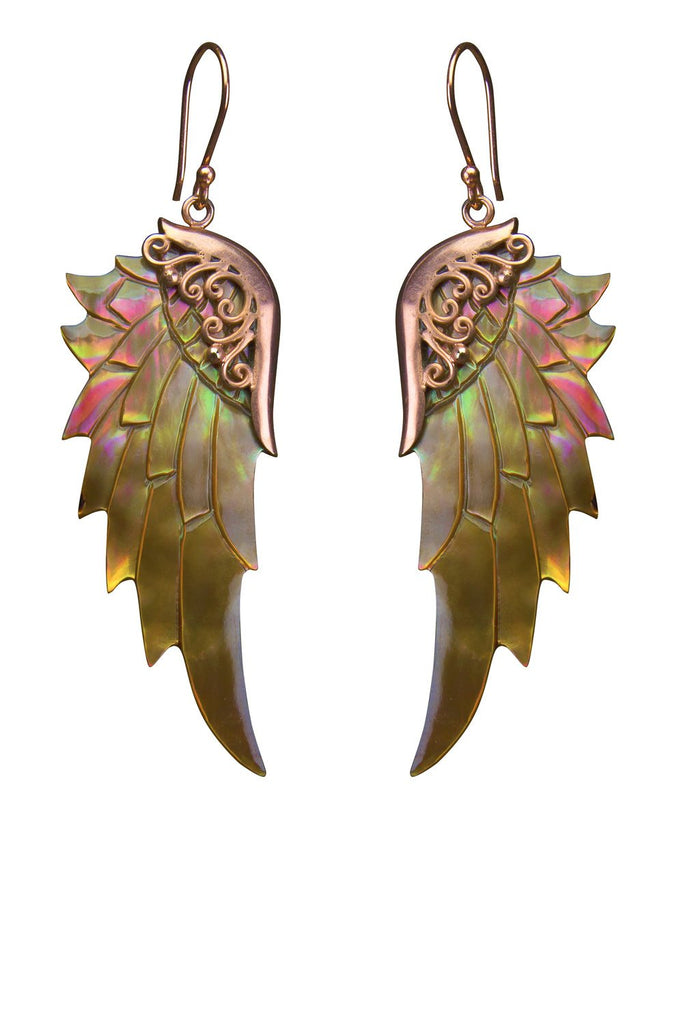Bronze Rainbow Love Wings Large Rose Gold