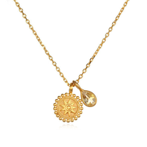 Gold Mandala Citrine Necklace cng1-13-l16