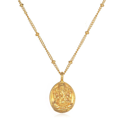 Gold Guardian Ganesha Necklace cng7-gan-l16