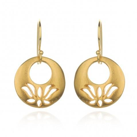 Gold Lotus Cut Earrings eg235-b