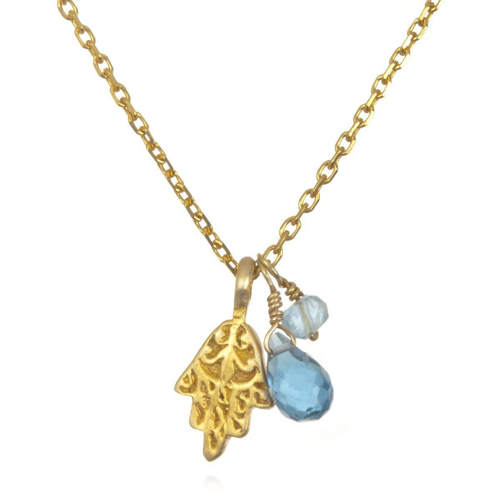 Gold Triple Mini Hamsa, Blue Topaz and Aquamarine Necklace ng41a-09-l18b
