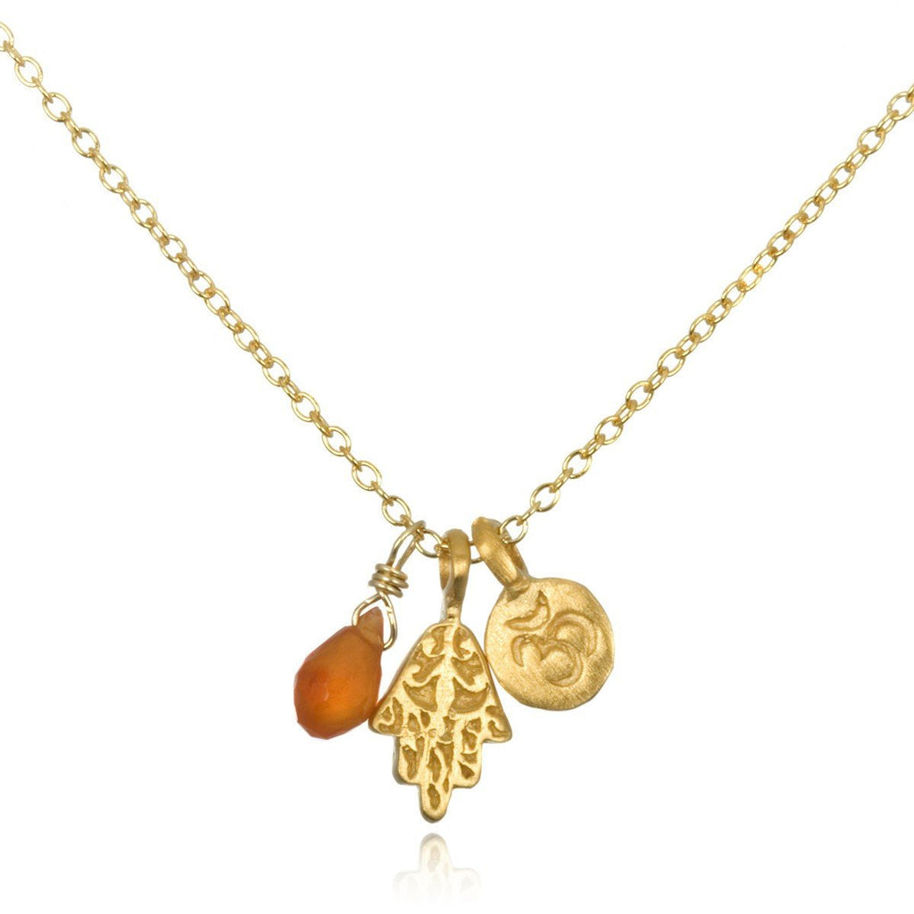 Gold Triple Mini Ohm Hamsa Carnelian ng215-11