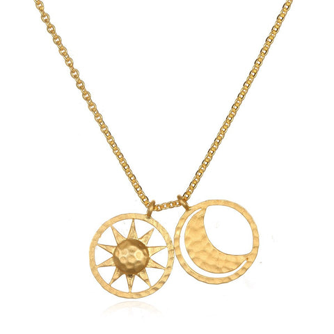 Sun and Moon Gold Necklace NG41-SM-L18