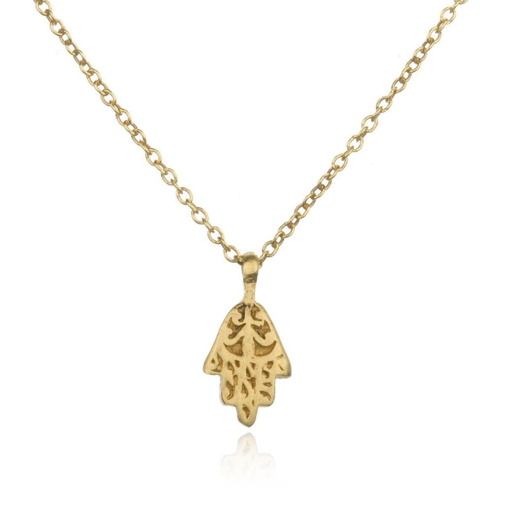 Gold Ornate Mini Hamsa Necklace ng599-l18b