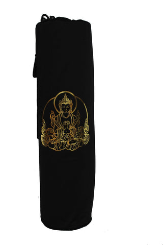 Yoga Mat Bag Black Buddha Foil