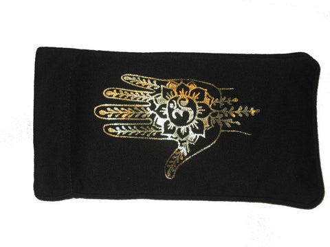 Eye Pillow Black Hamsa Foil