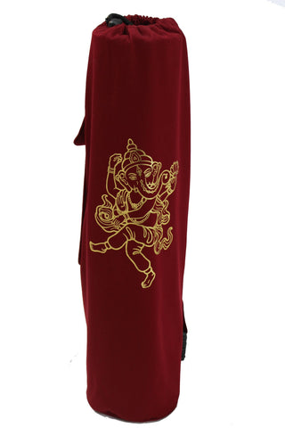 Yoga Mat Bag Burgundy Ganesha Foil