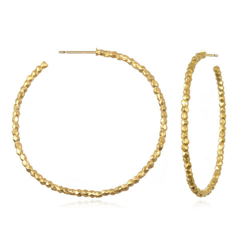Gold Large Beaded Hoops eg319