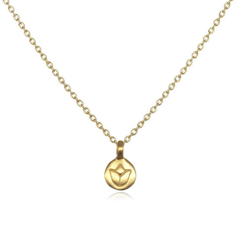 Gold Mini Lotus Necklace ng207-l18b