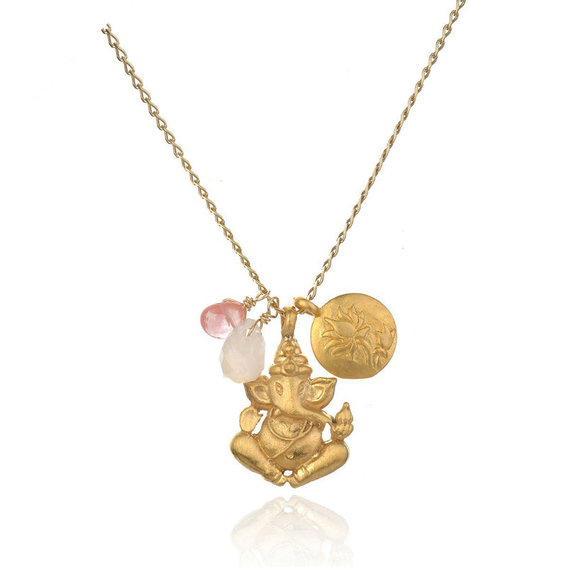 Gold Ganesha Cherry Quartz Rose Quartz Necklace ng325-35-l24