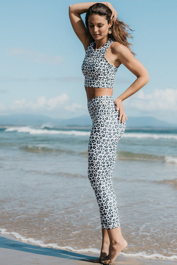 Roar Eco Friendly Snow Leopard High Waist Leggings DGP39