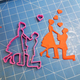 Wedding Proposal Silhouette Cookie Fondant Cutter