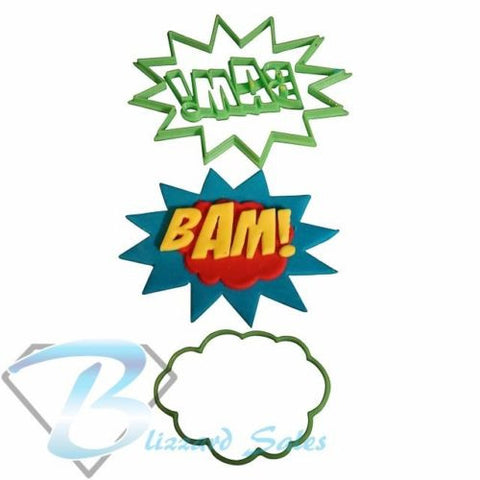 Bam! Comic Book Superhero Words Cookie Fondant Cutter