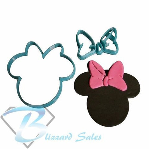 Minnie Mouse Cookie Fondant Cutter 5cm 7cm 10cm Set Birthday Cake Decorating