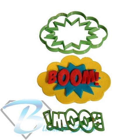 Boom! Comic Book Superhero Words Cookie Fondant Cutter