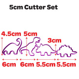 Dinosaur Shape Set of 4 cookie fondant cutters from Blizzard Sales 5cm size