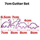Dinosaur Shape Set of 4 cookie fondant cutters from Blizzard Sales 7cm size