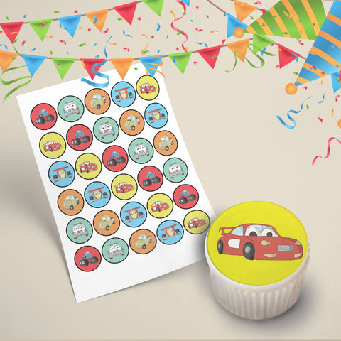 30x Car Characters Cupcake Toppers Icing Pre-cut Edible Images 35mm