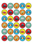 30x Car Characters Cupcake Toppers Wafer or Icing Pre-cut Edible Images 35mm Cake Decorating