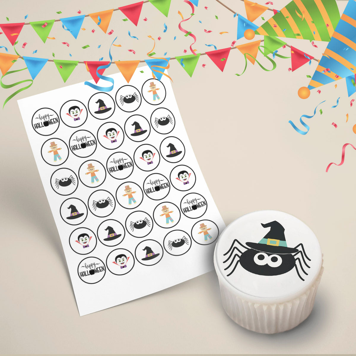 30x Halloween Cupcake Toppers Wafer or Icing Pre-cut Edible Images 35mm Cake Decorating